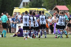 01-08-2018: Voetbal: Heracles Almelo v Fiorentina: ApeldoornSitting on the field Kevin Diks of Fiorentina, red cardOefenwedstrijd Heracles tegen Fiorentina