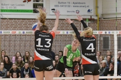17-03-2019: - JeanineStoeten - EmmaBredewoud - FroukjeHoenderboom - Volleybal: Vrouwen Dynamo Draisma v Apollo 8: ApeldoornEredivisie volleybal dames degradatiepouleJeanine Stoeten, Emma Bredewoud of Apollo 8, Froukje Hoenderboom of Dros AlternoDegradatiepoule; eredivisie volleybal; seizoen 2018-2019; dames;
