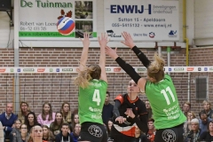 17-03-2019: - LauraOverwater - Moniekjansen - EmmaBredewoud - Volleybal: Vrouwen Dynamo Draisma v Apollo 8: ApeldoornEredivisie volleybal dames degradatiepouleLaura Overwater, Moniek Jansen of Dros Alterno, Emma Bredewoud of Apollo 8Degradatiepoule; eredivisie volleybal; seizoen 2018-2019; dames;